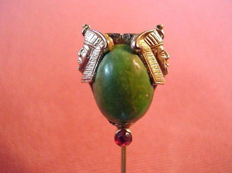 Great 14K ART DECO EGYPTIAN MOTIF STICK PIN