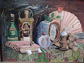 TOM BENSON STILL LIFE OIL ON CANVAS {RUBENS