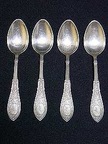 4 STERLING TEASPOONS ..ARABASQUE BY WHITING