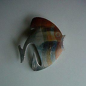 DESIGNER MEXICAN FISH PIN MARKED METALES CASADOS