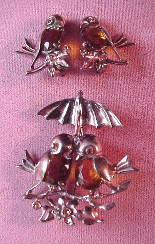 FIGURAL BIRDS RETRO BROOCH & EARRING SET Ster