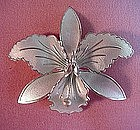Sterling WHITE ENAMEL ORCHID BROOCH { Norway