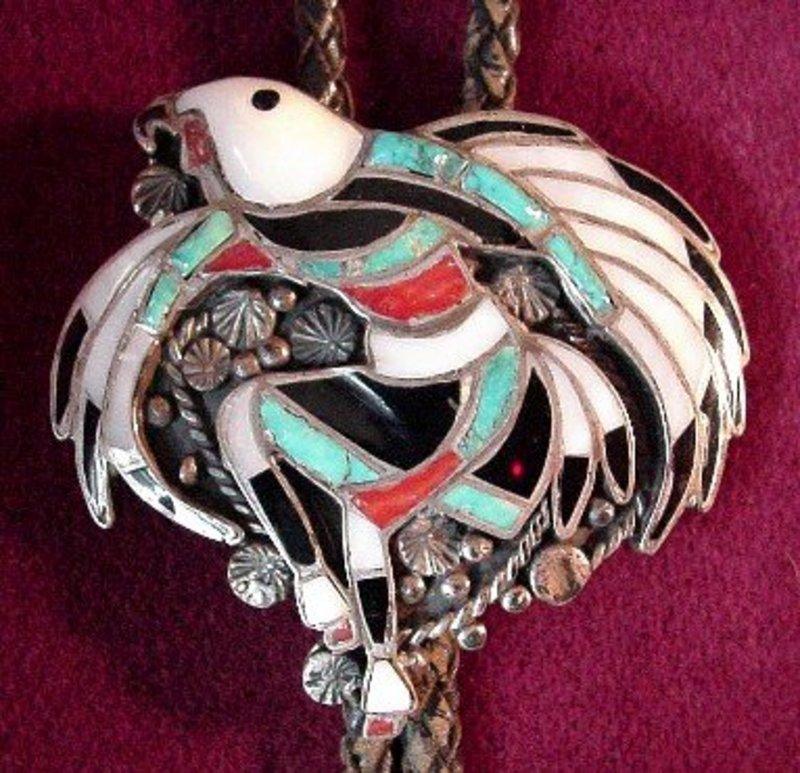GREAT DANCING EAGLE ZUNI BOLO {signed J.LUCIO