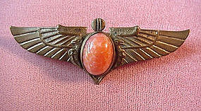 ART DECO WINGS PIN with BEZELED CORAL
