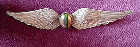 ART DECO EXTRA LONG WINGS PIN wBANDED AGATE
