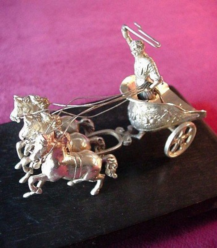 800 SILVER CHARIOTEER & 3 HORSES SCULPTURE