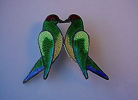 DESIGNER MEXICAN STERLING LOVE BIRDS PIN WITH ENAMELS