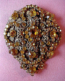 ANTIQUE DRESS CLIP MULTI CITRINE COLORED STONES