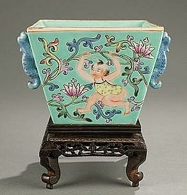 ANTIQUE CHINESE PLANTER BOYS AT PLAY ROBINS EGG BLUE