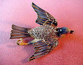 STERLING COROCRAFT ENAMEL BIRD PIN