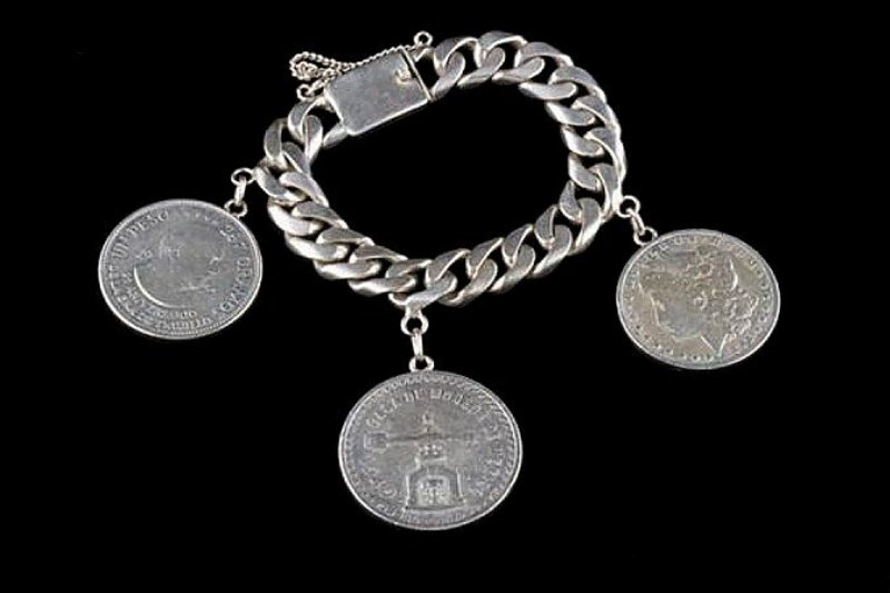 HEAVY STERLING LINK BRACELET WITH 3 COINS