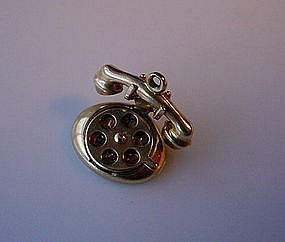 OUTSTANDING 14K OLD STYLE PHONE CHARM MOVABLE DIALER