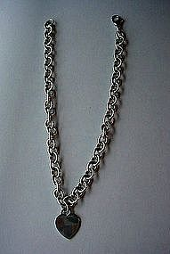 "TIFFANY & COMPANY STERLING 16"" NECKLACE WITH HEART DROP"