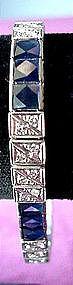 PLAT DIAMOND & SAPPHIRE STRAIGHT LINE BRACELET