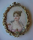 BEAUTIFUL PAINTING ON IVORY LADY IN ANTIQUE BRASS FRAME