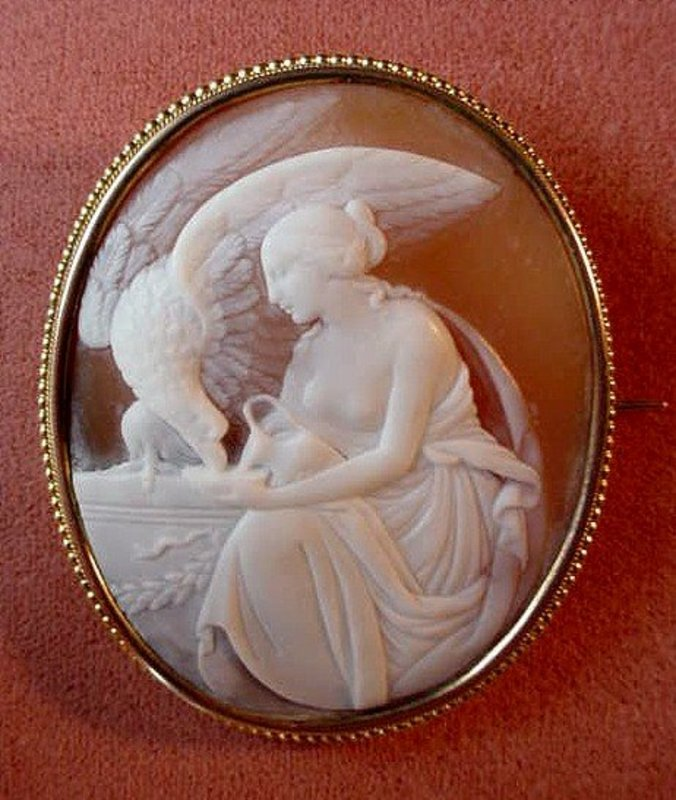 FANTASTIC 14K HEBES AND THE EAGLE CAMEO BROOCH Ca. 1900