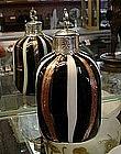 ART GLASS PERFUME BOTTLE BLACK WHITE AND GOLDSTONE