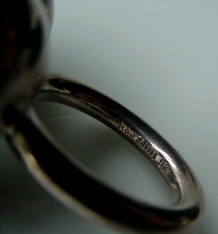 RETRO ATOMIC DESIGNER STERLING RING MARKED M & J SAVITT