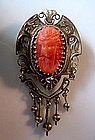 ANTIQUE GOLD VICTORIAN CORAL CAMEO BROOCH