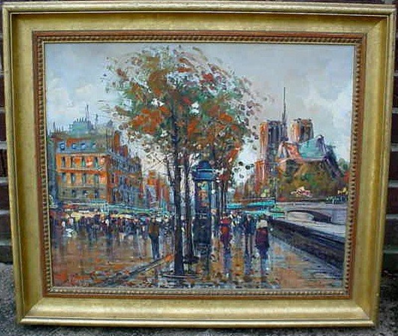 IMPRESSIONIST PARIS SCENE OIL ON CANVAS SIGNED: BRECLA