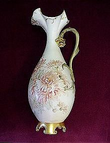BEAUTIFUL ANTIQUE LIMOGES EWER ARTIST SIGNED }1893