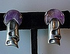 HECTOR AGUILAR MUSHROOM~DESIGN EARRINGS WITH AMETHYST