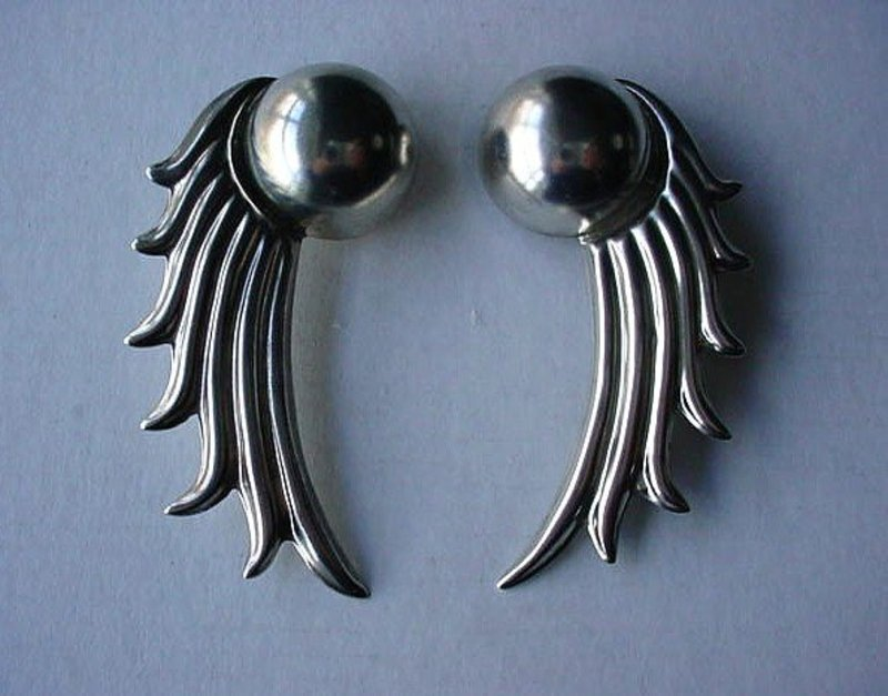 LARGE SIZE LOS BALLESTEROS MEXICAN STERLING EARRINGS