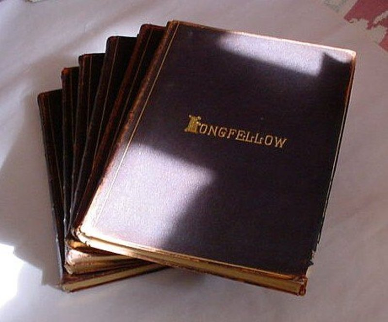 LONGFELLOW POETICAL WORKS HOUGHTON MIFLIN 1886 LEATHER