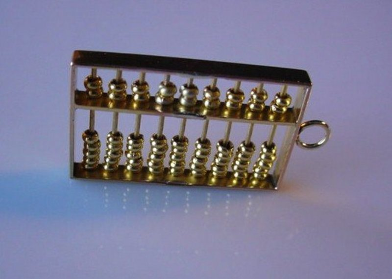 14K GOLD ABACUS CHARM ESTATE PIECE..MOVABLE