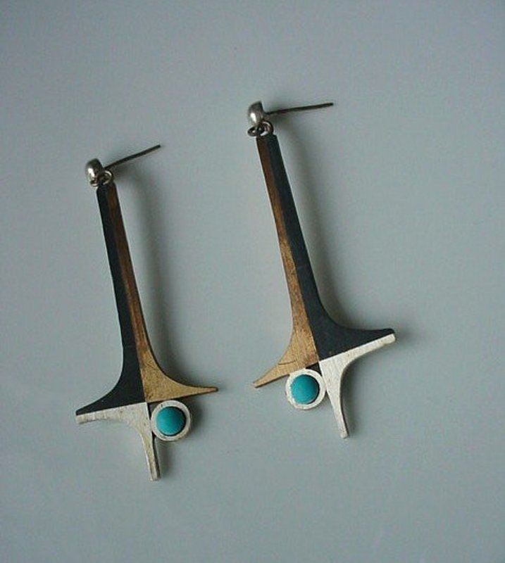 STERLING PIEDRA NEGRA EARRINGS ... MIXED METALS