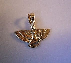 14K GOLD EGYPTIAN WINGED ISIS CHARM...