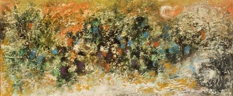 ABSTRACT EXPRESSIONIST PAINTING OIL ON BOARD CA 1925