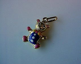 14K TEDDY BEAR CHARM WITH BLUE & RED ENAMELS