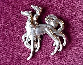RUSSIAN WOLFHOUNDS BROOCH  { Sterling