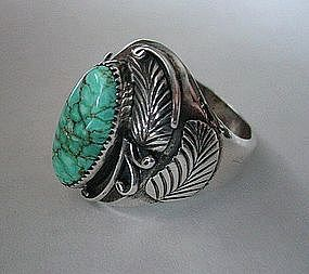 GENT'S STERLING & TURQUOISE RING..SIGNED:  G. REEVES