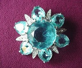 Great REJA AQUA CLUSTER Brooch {STER ca. 1950