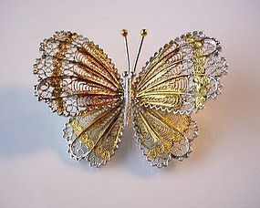 BEAUTIFUL STERLING FILIGREE BUTTERFLY BROOCH
