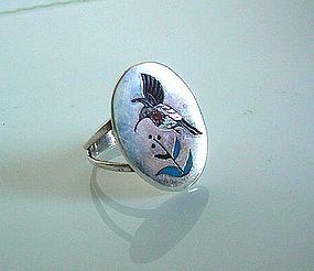 SIGNED 'WATCHMAN' ZUNI HUMMINGBIRD RING NATIVE AMERICAN