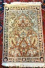 HANDWOVEN PERSIAN SILK QUM PRAYER RUG