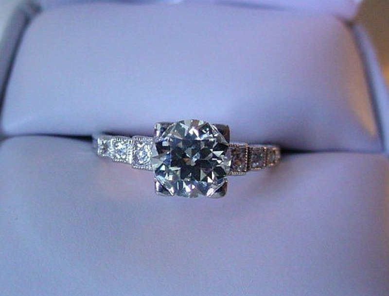PLAT DIAMOND ENGAGEMENT RING 1.18 OLD EURO CUT CENTER
