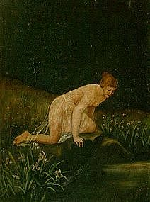 OIL ON CANVAS PAINTING OF NYMPH  ... O. SEITZ 1900