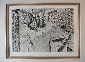 NY WASHINGTON SQUARE ETCHING {P.BERDANIER