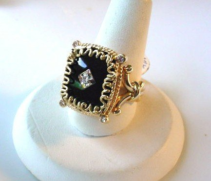 14K ONYX & DIAMONDS RING FILIGREE DESIGNS