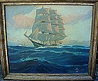 OIL ON CANVAS LEN WHITNEY SHIP UNDER FULL SAIL LISTED