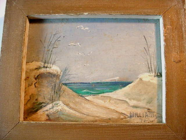MINIATURE PAINTING O/B SAND DUNES Signed WILLIAMS