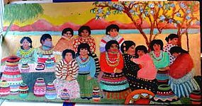NATIVE AMERICAN OIL ON CANVAS WOMEN & CHILDREN