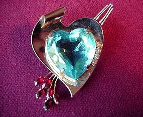 Unusual CORO STERLING HEART BROOCH ca. 1950