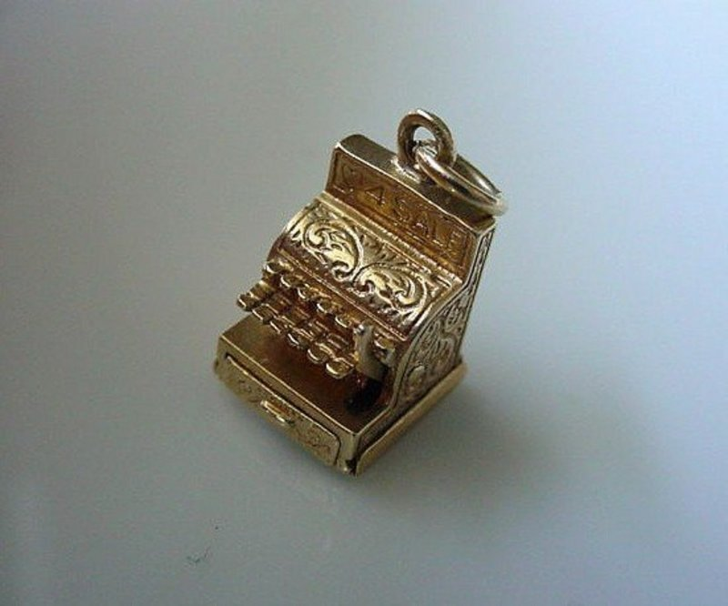 14K CHARM CASH REGISTER OPENS READS LOVE FOR SALE