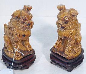 PAIR CHINESE CERAMIC FOO LIONS GOLD GLAZE