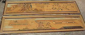 PAIR OF ANTIQUE JAPANESE PAINTED PANELS 10' X 2' each